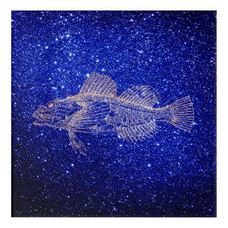 Mazola Deep Sea Fishes Blue Navy Rose Gold Blush Acrylic Wall Art