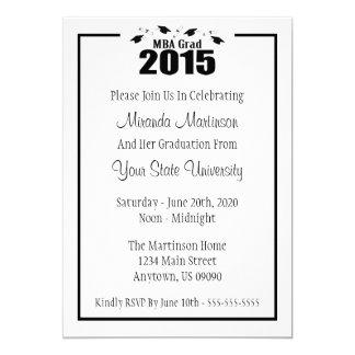 MBA Grad 2015 Graduation Invite (Black Caps)