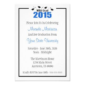 MBA Grad 2015 Graduation Invite (Blue Caps)