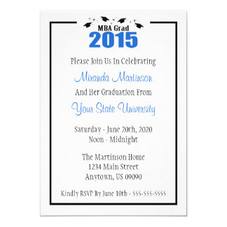 """MBA Grad 2015 Graduation Invite (Blue Caps) 5"""" X 7"""" Invitation Card"""