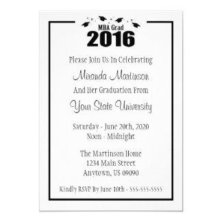 MBA Grad 2016 Graduation Invite (Black Caps)