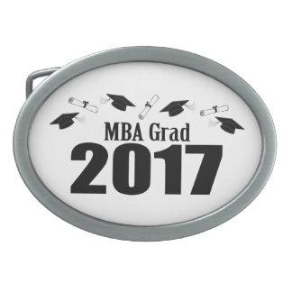 MBA Grad 2017 Caps And Diplomas (Black) Oval Belt Buckles