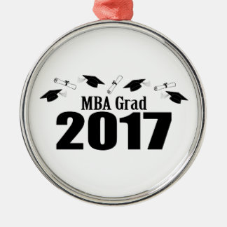 MBA Grad 2017 Caps And Diplomas (Black) Silver-Colored Round Decoration