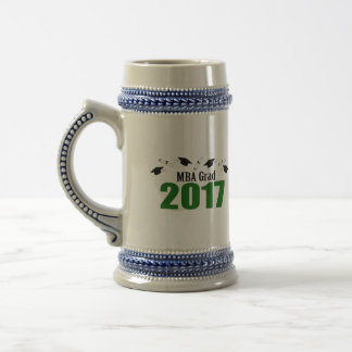 MBA Grad 2017 Caps And Diplomas (Green) Beer Stein