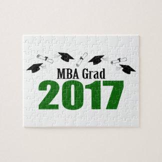 MBA Grad 2017 Caps And Diplomas (Green) Jigsaw Puzzle