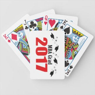 MBA Grad 2017 Caps And Diplomas (Red) Bicycle Playing Cards