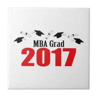 MBA Grad 2017 Caps And Diplomas (Red) Ceramic Tile