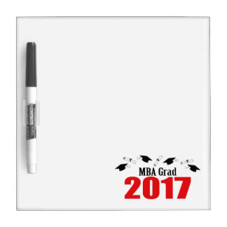MBA Grad 2017 Caps And Diplomas (Red) Dry-Erase Board