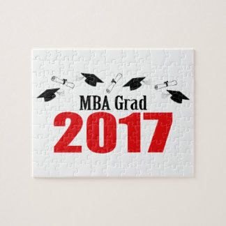 MBA Grad 2017 Caps And Diplomas (Red) Jigsaw Puzzle
