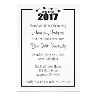 MBA Grad 2017 Graduation Invite (Black Caps)