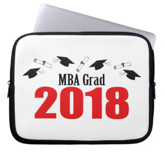 MBA Grad Caps And Diplomas 2018 (Red) Laptop Sleeve