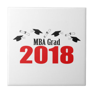 MBA Grad Caps And Diplomas 2018 (Red) Tile