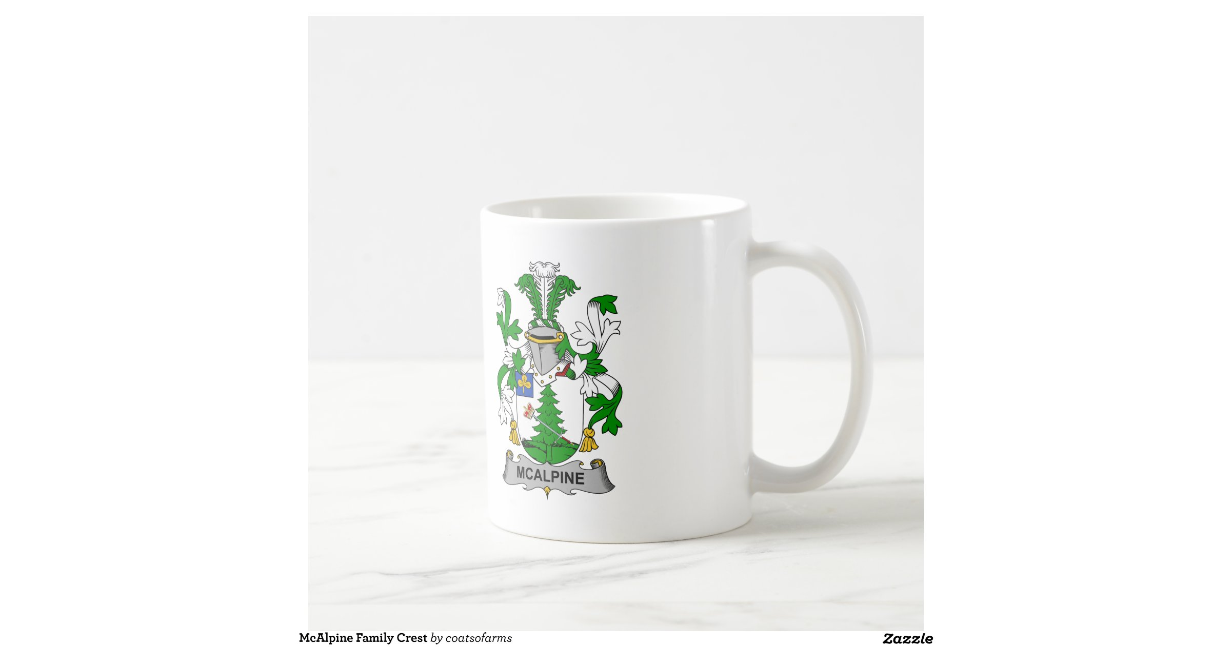 Mcalpine family crest classic white coffee mug zazzle for Alpine cuisine coffee cups