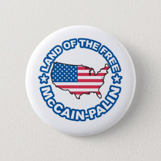 McCain Palin Land of teh Free 6 Cm Round Badge