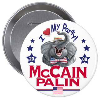 McCain Palin Love My Party 10 Cm Round Badge