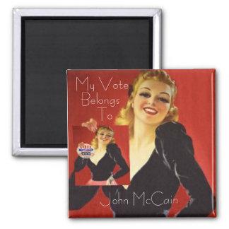 McCain Pinup Square Button Fridge Magnets