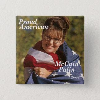 McCain, Proud, American, Palin, 2008 15 Cm Square Badge