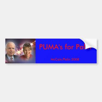 mccainandpalinsticker, PUMA's for Palin, McCain... Bumper Sticker