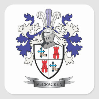 McCracken Family Crest Coat of Arms Square Sticker