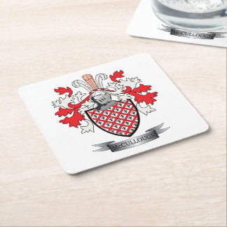 McCullough Family Crest Coat of Arms Square Paper Coaster