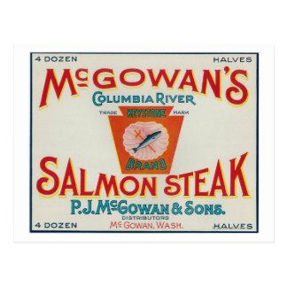 McGowan, Washington - Keystone Salmon Case Label Postcard