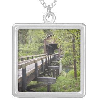 McKee covered bridge, Jacksonville, Oregon Square Pendant Necklace