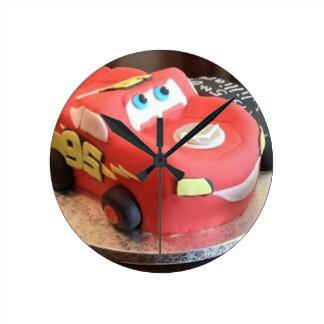 McQueen car cake Round Clock