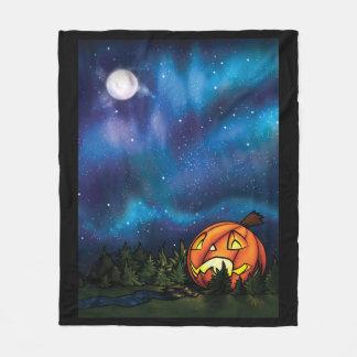 MD Bordered Starry Pumpkin Nights Fleece Blanket