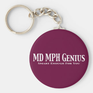 MD MPH Genius Gifts Basic Round Button Key Ring