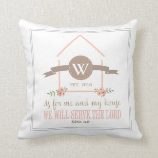 Me and my house, scripture, family initial throw pillow