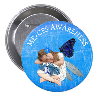 ME/CFS Angel Fairy Girl Awareness Ribbon 7.5 Cm Round Badge