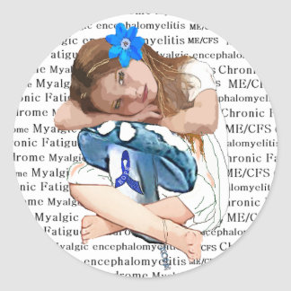"""ME/CFS"" Chronic Fatigue Syndrome ""Girl of Hope"" Round Sticker"