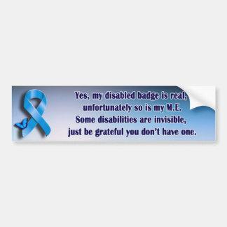ME / CFS invisible disability bumper sticker