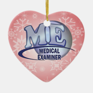 ME MEDICAL EXAMINER FUN BLUE LOGO CERAMIC HEART DECORATION