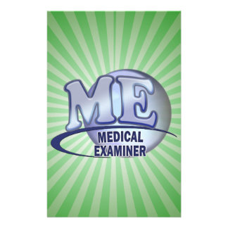 ME MEDICAL EXAMINER FUN BLUE LOGO PERSONALIZED STATIONERY