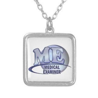 ME MEDICAL EXAMINER FUN BLUE LOGO SILVER PLATED NECKLACE