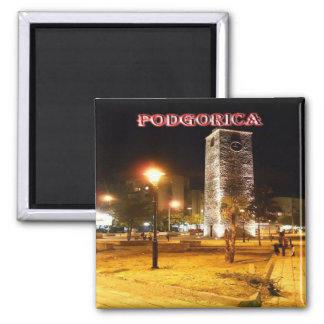 ME - Montenegro Podgorica The Clock Tower at Night Square Magnet