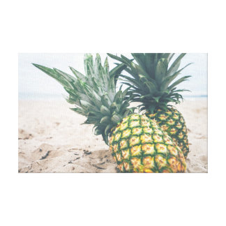 Me, You and Two Pineapples on the Beach Art Canvas