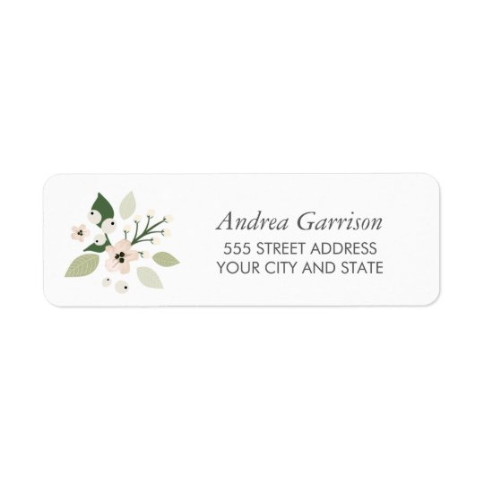 Meadow Blooms Return Address Label - white