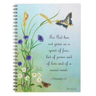 Meadow Flowers Watercolor Butterfly 2 Timothy Spiral Notebook