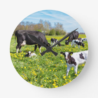 Meadow full of dandelions with grazing cows round clock