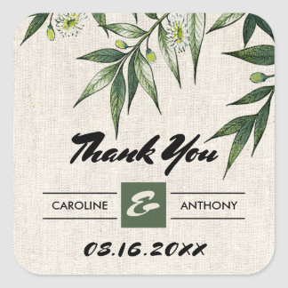 Meadow, Green Botanical Wedding Thank You Stickers