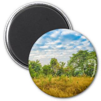 Meadow Tropical Landscape Scene, Guayaquil 6 Cm Round Magnet