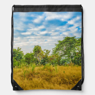 Meadow Tropical Landscape Scene, Guayaquil Drawstring Bag