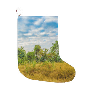 Meadow Tropical Landscape Scene, Guayaquil Large Christmas Stocking