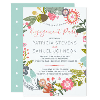 Meadow wildflowers wreath engagement party card