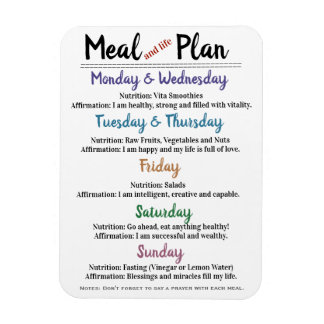 Meal Plan with Affirmations Magnet