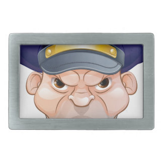 Mean Angry Cartoon Policeman Belt Buckle