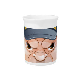 Mean Angry Cartoon Policeman Pitcher