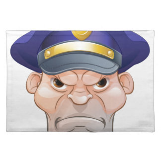 Mean Angry Cartoon Policeman Placemat